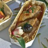 Farmhouse pâté with prunes, baked in a wooden container