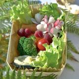 Fruity crudité folly served in a wooden container
