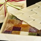 Box of jellied fruit with lid and raffia